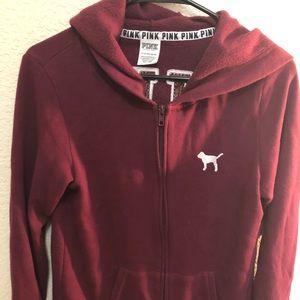 PINK Victoria Secret Maroon zip up hoodie